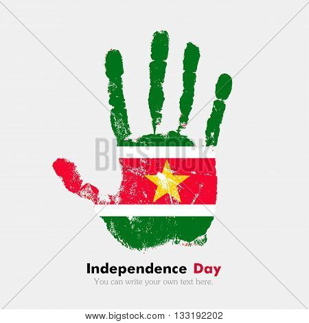 Hand print, which bears the Flag of Suriname. Independence Day. Grunge style. Grungy hand print with the flag. Hand print and five fingers. Used as an icon, card, greeting, printed materials.