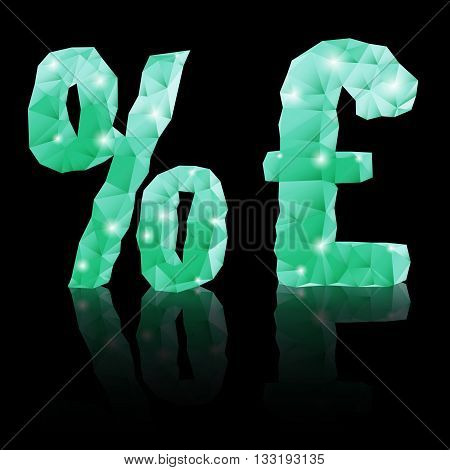 Shiny emerald green polygonal font with reflection on black background. Crystal style per cent and pound sterling signs