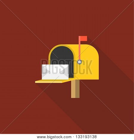 Open Mail box  post illustration, Post box vector, mail box post isolated with long shadow flat design, Yellow letter box icon with letter inside