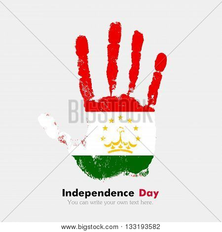 Hand print, which bears the Flag of Tajikistan. Independence Day. Grunge style. Grungy hand print with the flag. Hand print and five fingers. Used as an icon, card, greeting, printed materials.