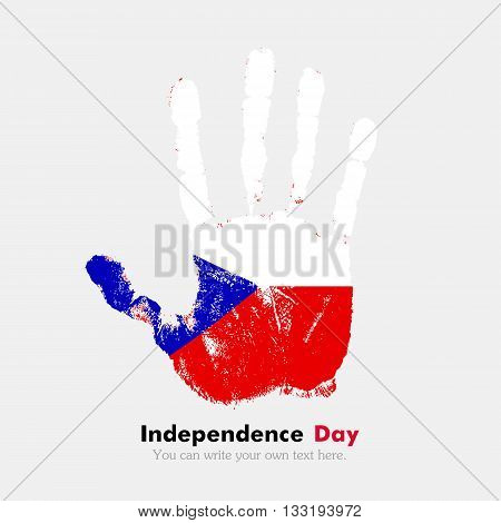 Hand print, which bears the Flag of the Czech Republic. Independence Day. Grunge style. Grungy hand print with the flag. Hand print and five fingers. Used as an icon, card, greeting, printed materials.