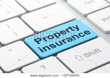 Insurance concept: computer keyboard with word Property Insurance, selected focus on enter button background, 3D rendering