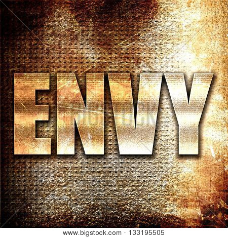 envy, 3D rendering, metal text on rust background
