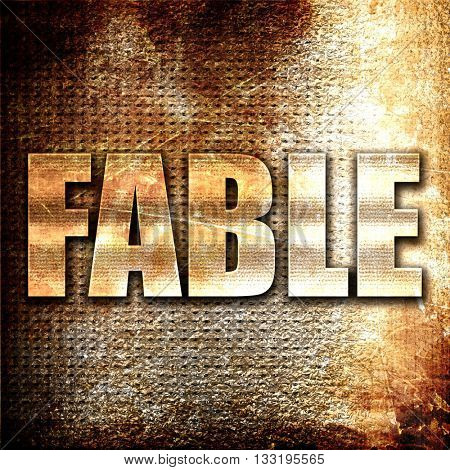 Fable, 3D rendering, metal text on rust background