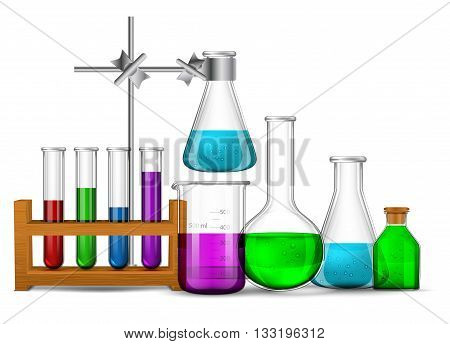 Vector set - Vector set - Chemical Research Laboratory. The test tube beaker flask