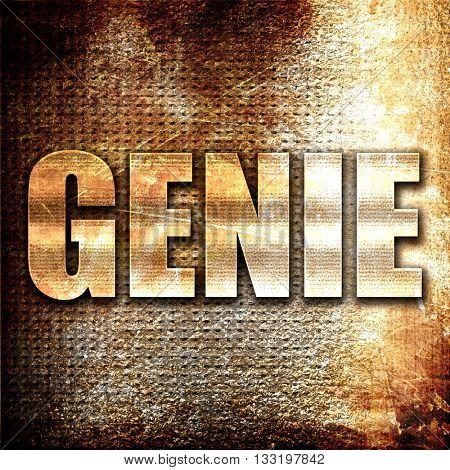 genie, 3D rendering, metal text on rust background