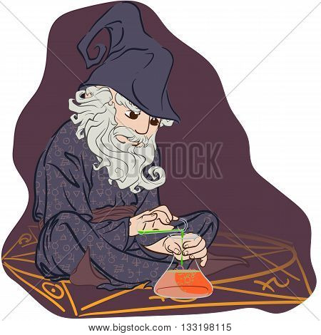 Funny cartoon style ancient Alchemist sitting inside pentagram and setting an experiment. EPS8 vector illustration.