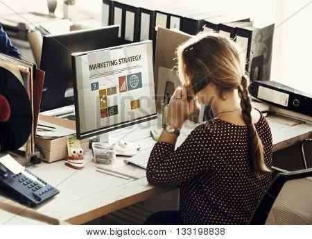 Businesswoman Marketing Analysis Using Telephone Concept