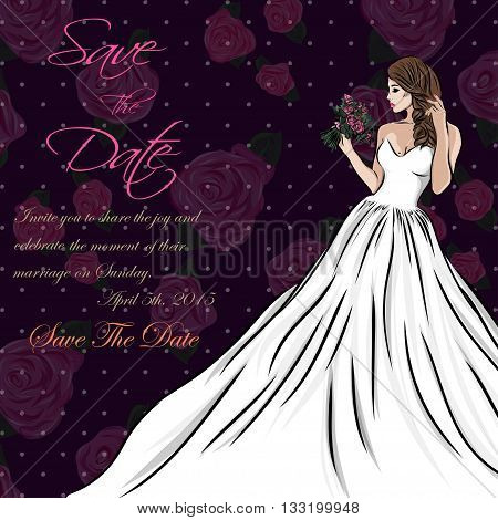 wedding invitation card suite with bride and flowers. Vector EPS