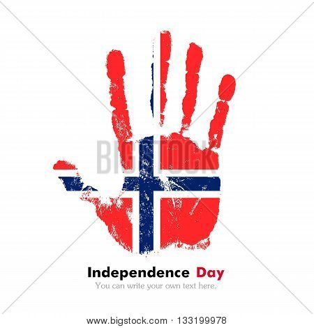 Hand print, which bears the Norwegian flag. Independence Day. Grunge style. Grungy hand print with the flag. Hand print and five fingers. Used as an icon, card, greeting, printed materials.