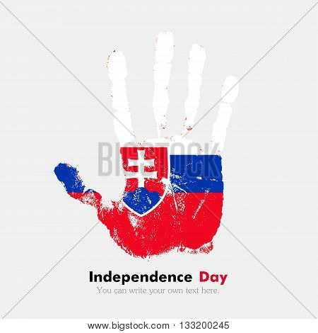 Hand print, which bears the Slovak flag. Independence Day. Grunge style. Grungy hand print with the flag. Hand print and five fingers. Used as an icon, card, greeting, printed materials.