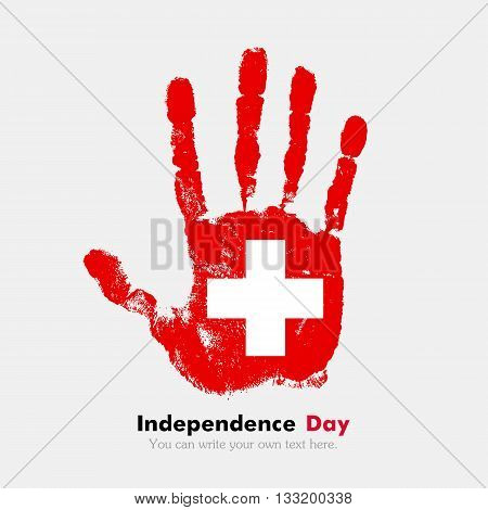 Hand print, which bears the Swiss flag. Independence Day. Grunge style. Grungy hand print with the flag. Hand print and five fingers. Used as an icon, card, greeting, printed materials.