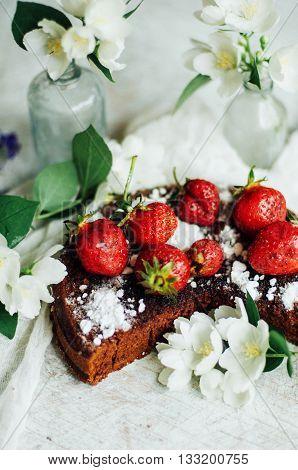 Strawberry Tart, Strawberry Shortcake, Strawberry Jam. Serving Homemade Strawberry Cake Or Pie On Wo