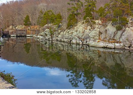 Great Falls National Park in late fall Virginia USA. Scenic view on canal waters near the old lock.