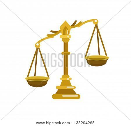 Scales of Justice symbolizing the measure of a cases support and opposition in a court of law. Scales of Justice vector. Illustration Scales of Justice. Pen Scales of Justice  icon isolated on white
