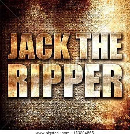 jack the ripper, 3D rendering, metal text on rust background