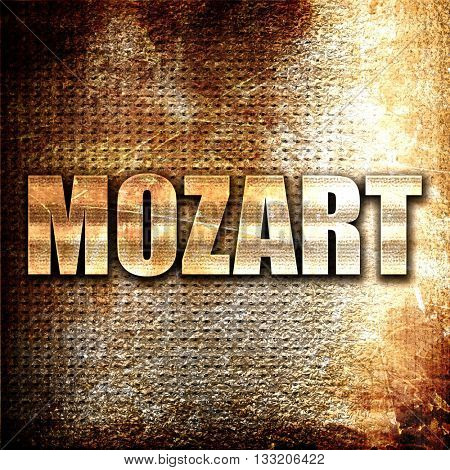 mozart, 3D rendering, metal text on rust background