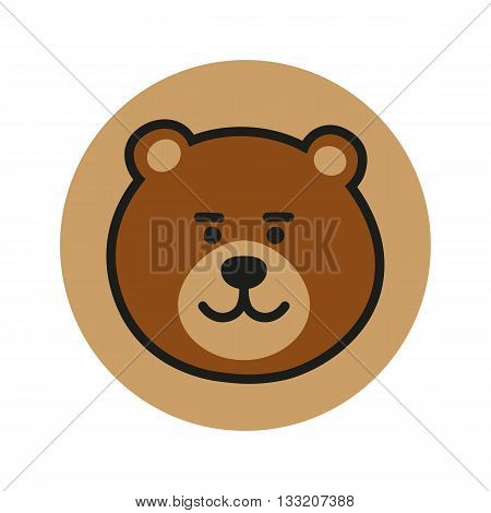 Bear vector icon. Bear logo. Cute Bear Icon. Bear design Icon. Bear flat icon. Bear in circle. Bear art. Bear head. Brown Bear Icon