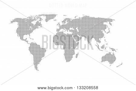 World map shape, filled with circles pattern