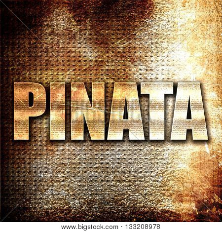 pinata, 3D rendering, metal text on rust background