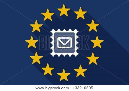Long Shadow Eu Flag With  A Mail Stamp Sign