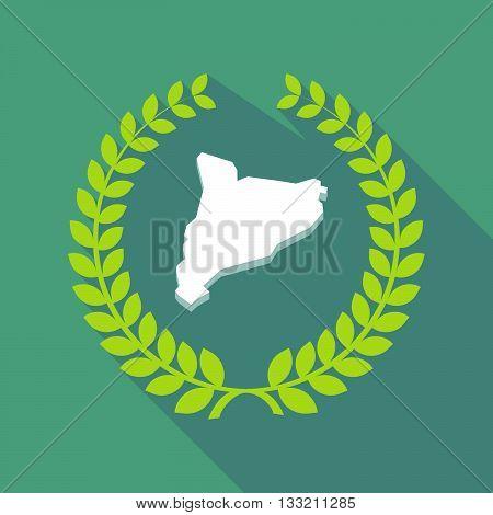 Long Shadow Laurel Wreath Icon With  The Map Of Catalonia