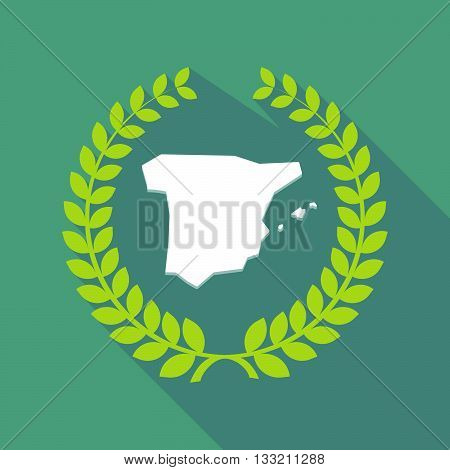 Long Shadow Laurel Wreath Icon With  The Map Of  Spain
