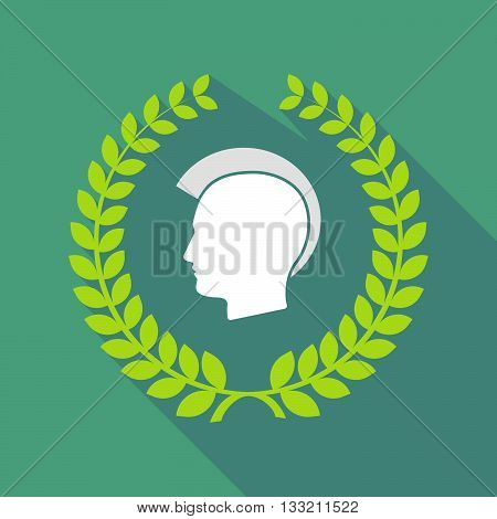 Long Shadow Laurel Wreath Icon With  A Male Punk Head Silhouette