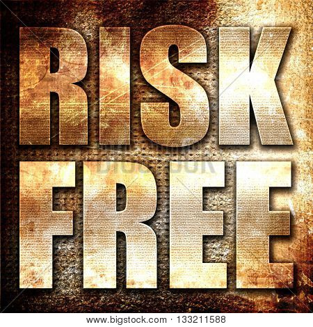 risk free, 3D rendering, metal text on rust background