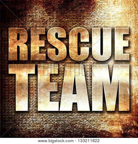 rescue team, 3D rendering, metal text on rust background