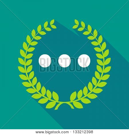 Long Shadow Laurel Wreath Icon With  An Ellipsis Orthographic Sign