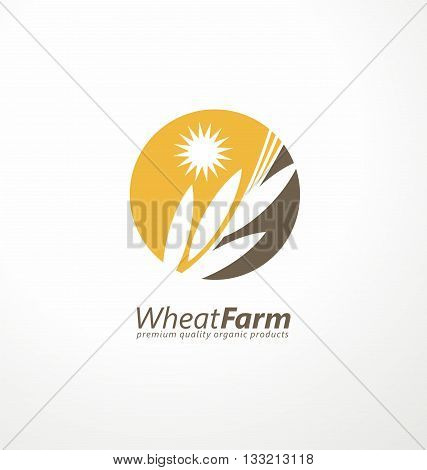 Farm fresh products unique sign or icon image. Organic wheat farming logo design idea. Agriculture logo design layout.
