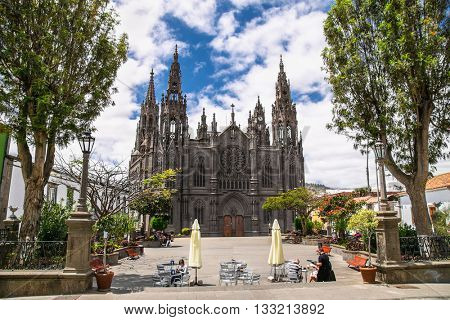 Church of San Juan Bautista - impressive Gothic Cathedral in Arucas, Gran Canaria, Spain.