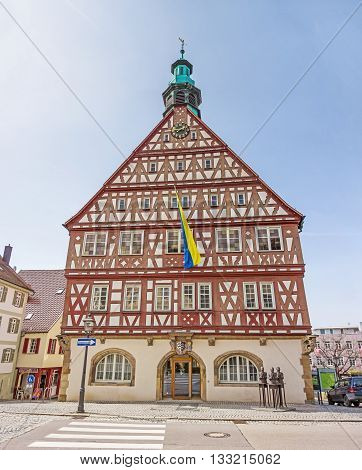 Backnang Germany - April 3 2016: City center with historical townhall and half-timbered houses