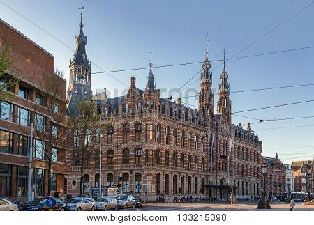 The Former Amsterdam Main Post Office currently a shopping mall known as Magna Plaza is a monumental building located in Amsterdam city center poster