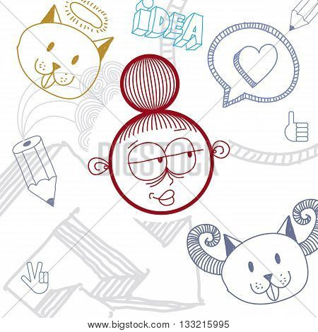 Vector Art Colorful Drawing Of Happy Person, Education And Social Network Design Elements Isolated O