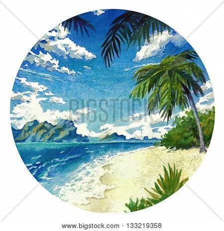 Watercolor landscape in a circle. Sunny beach and the sea.