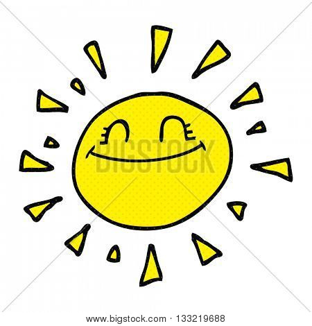 happy freehand drawn cartoon sun