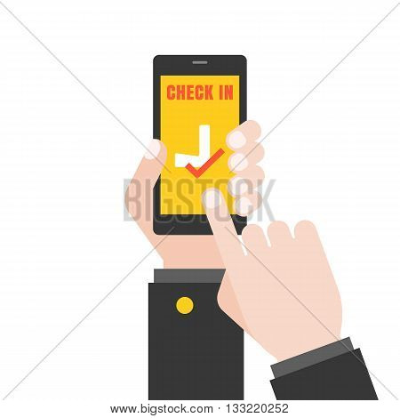 Hand holding  smart phone illustration for flight check in application, Hand touching screen,Hand Using smart phone for business airline concept, flat design