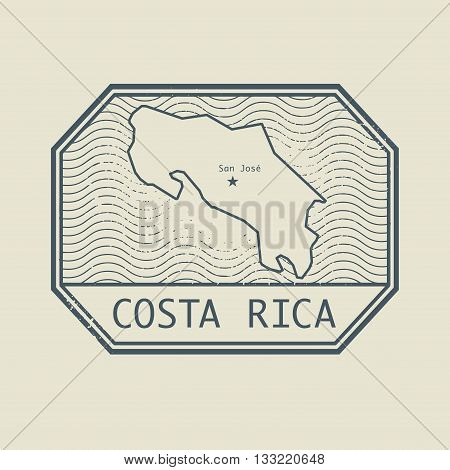 Stamp with the name and map of Costa Rica, vector illustration