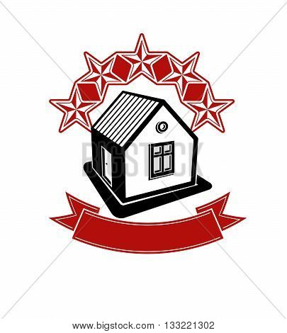 Simple house with five stars and ribbon. Aristocratic building decorative vector design element.