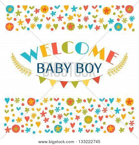 Welcome Baby Boy. Baby Boy Shower Card. Announcement Card. Baby Shower Greeting Card. Baby Boy Arriv