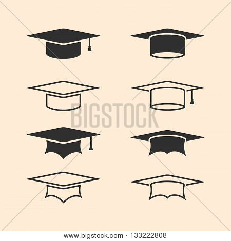 Graduation cap logos set. Graduation hat logo set. Academic caps. Line academic icons set. Vector illustration.