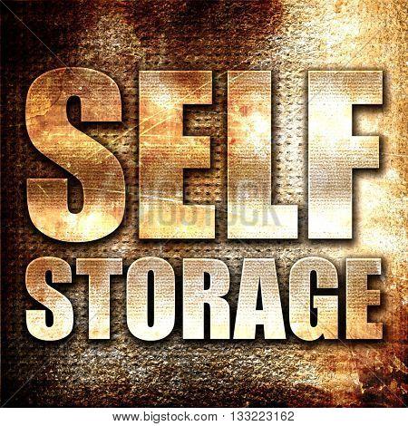 self storage, 3D rendering, metal text on rust background