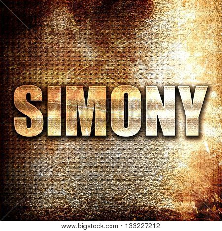 simony, 3D rendering, metal text on rust background