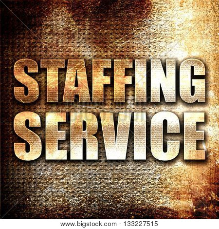 staffing service, 3D rendering, metal text on rust background