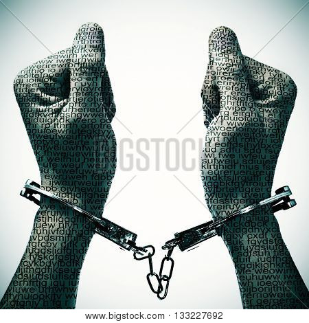 closeup of a handcuffed man with his hands and wrists patterned with no-sense words