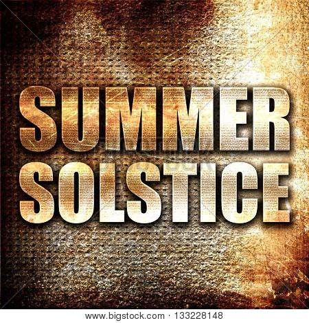 summer solstice, 3D rendering, metal text on rust background