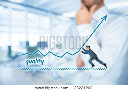 Improve quality concept. Manager (businessman coach leadership) want to improve product quality.
