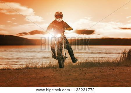 Man Riding Enduro Motorcycle In Motor Cross Track Use For People Activities And Leisure ,traveling E